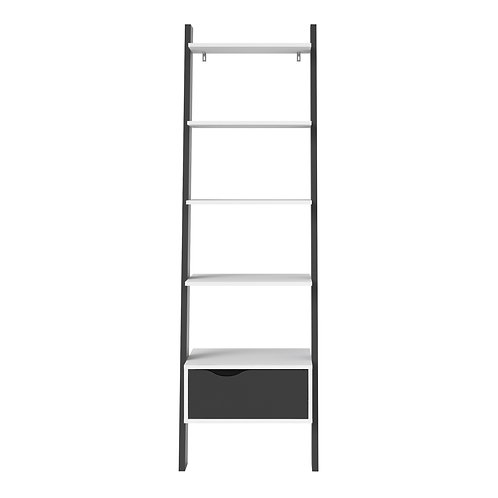 Oslo Leaning Bookcase 1 Drawer In White And Black Matt