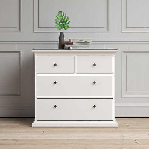 Paris Chest of 4 Drawers in White