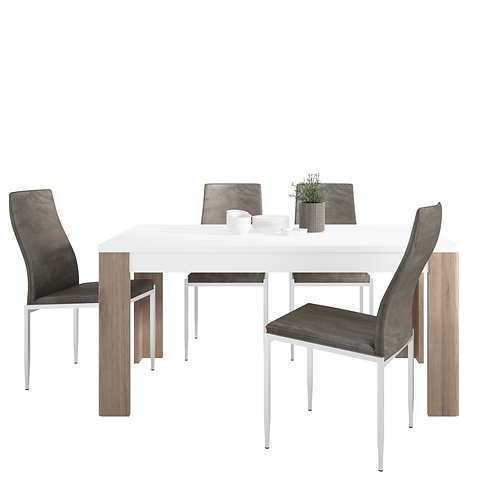 Toronto 160 CM Dining Table And 4 Milan High Back Chairs Dark Brown
