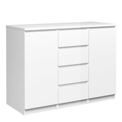 Naia Sideboard 4 Drawers 2 Doors In White High Gloss
