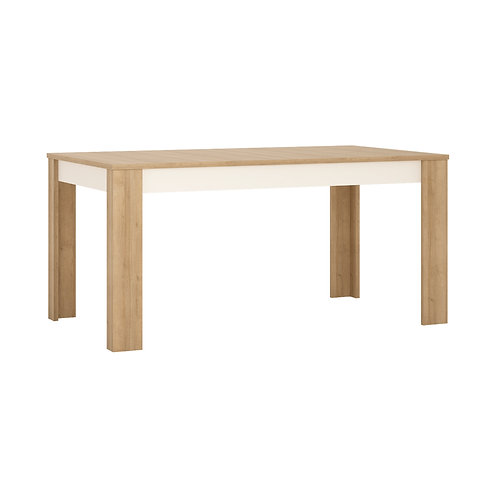 Lyon Large Extending Dining Table In Riviera Oak/White High Gloss