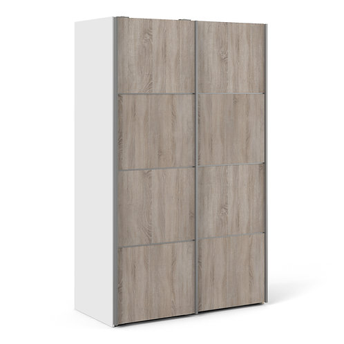 Verona Sliding Wardrobe 120CM In White With Truffle Oak Doors With 5 Shelves