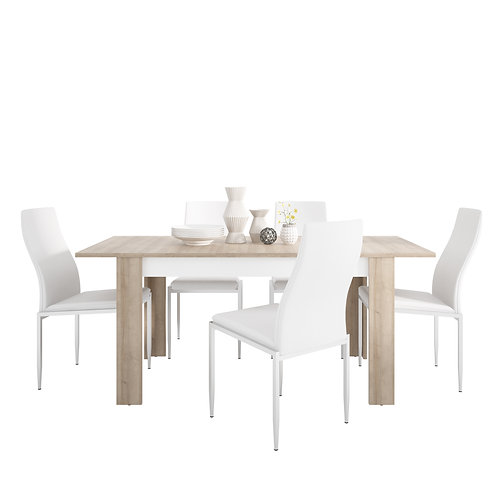 Lyon Medium Extending Dining Table And 4 Milan High Back Chairs White