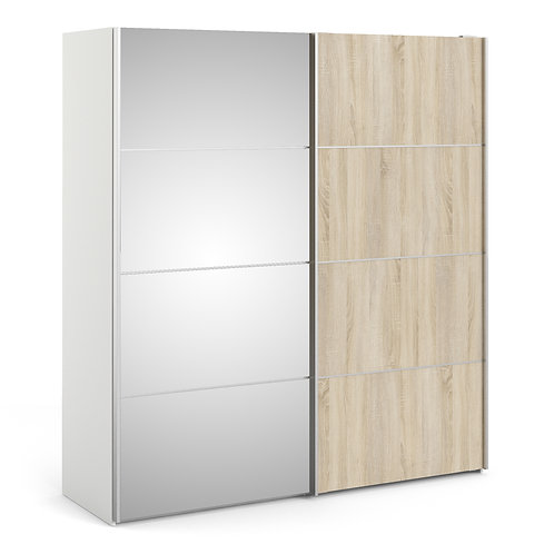 Verona Sliding Wardrobe 180cm in White with Oak and Mirror Doors and 5 Shelves