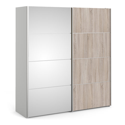 Verona Sliding Wardrobe 180cm in White/Truffle Oak With Mirror Doors