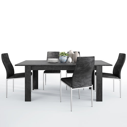 Zingaro With Dining Table And 4 Milan High Back Chairs Black