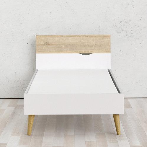 Oslo Euro Single Bed (90 X 200) In White And Oak