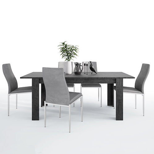 Zingaro With Dining Table And 4 Milan High Back Chairs Grey