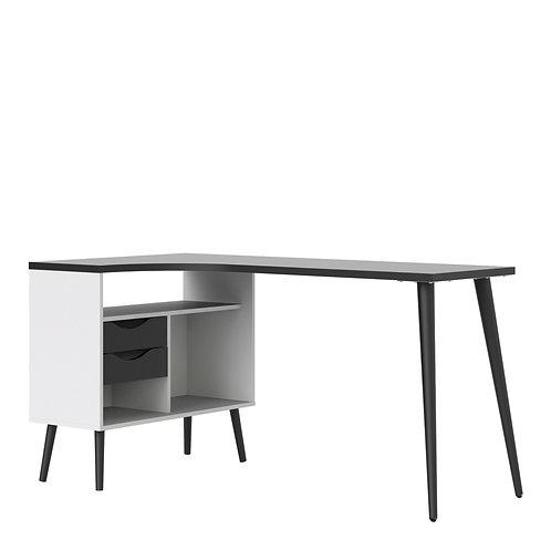 Oslo Desk 2 Drawer In White And Black Matt