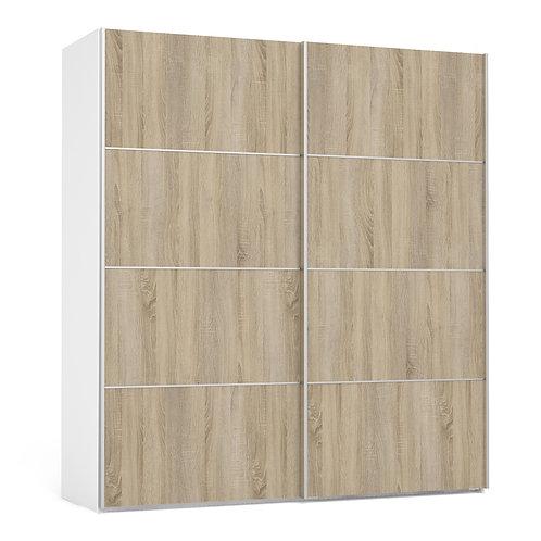 Verona Sliding Wardrobe 180cm in White with Oak Doors and 5 Shelves