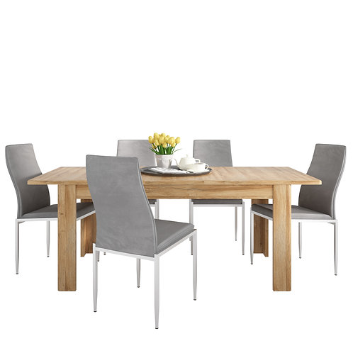 Cortina Extending Dining Table In Grandson Oak + 6 Milan High Back Chair Grey.