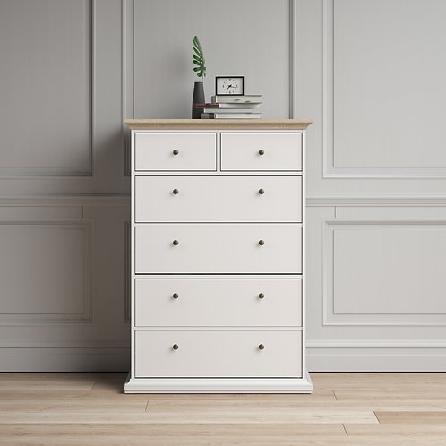 Paris Chest Of 6 Drawers In White And Oak