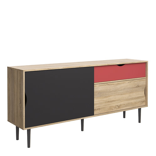 Unit Sideboard 1 Drawer With Sliding Doors In Oak With Dark Grey And Teracotta