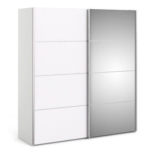 Verona Sliding Wardrobe 180cm in White with Mirror Doors and 5 Shelve