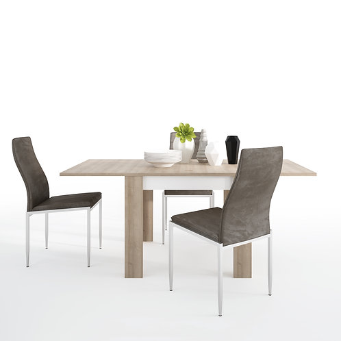 Lyon Small Extending Dining Table And 4 Milan High Back Chairs Dark Brown
