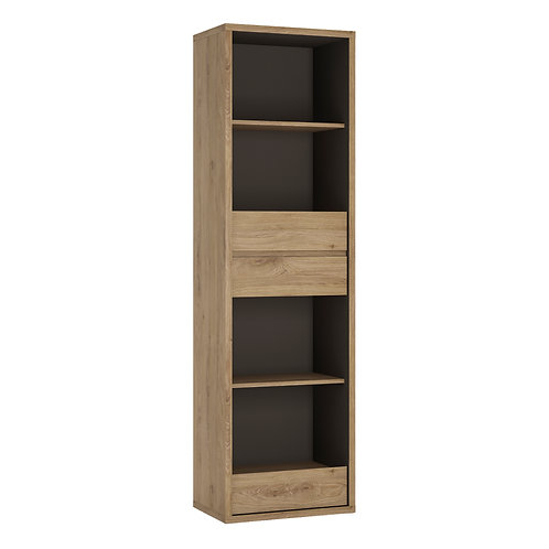 Shetland Tall Narrow 3 Drawer Bookcase