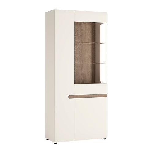 Tall Glazed Wide Display Unit (LH) In White With An Truffle Oak Truffle Trim