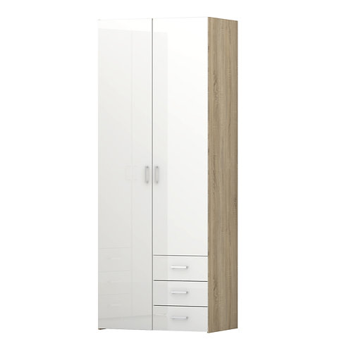 Space Wardrobe 2 Doors 3 Drawers In Oak With White High Gloss