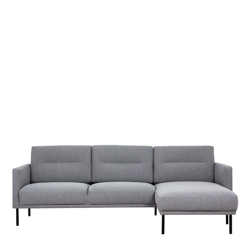 Larvik Chaiselongue Right Handed Sofa Grey With Black Legs