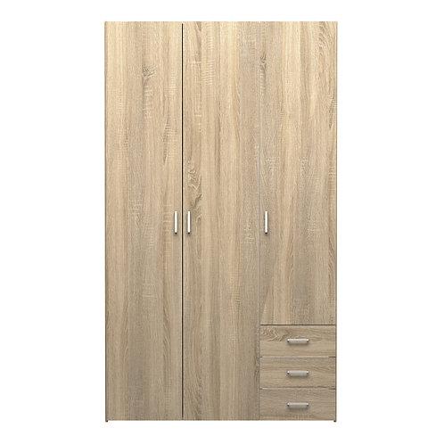 Space Wardrobe 3 Doors 3 Drawers In Oak