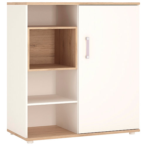 4Kids Low Cabinet With Shelves And Sliding Door With Lilac Handles