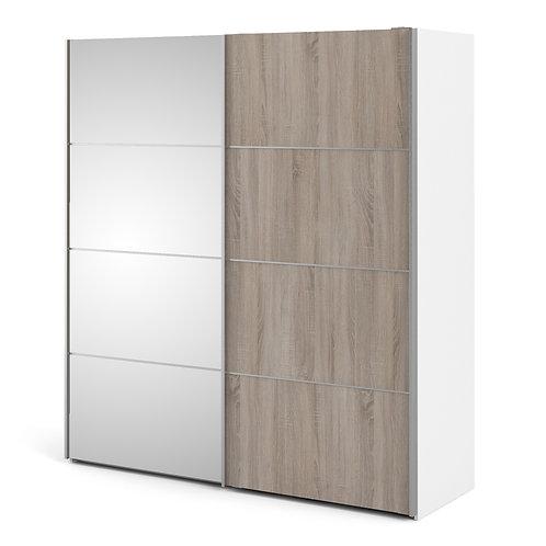 Verona Sliding Wardrobe 180cm in White/Truffle Oak and Mirror Doors
