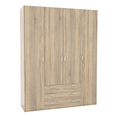 Space Wardrobe  4 Doors 3 Drawers In Oak