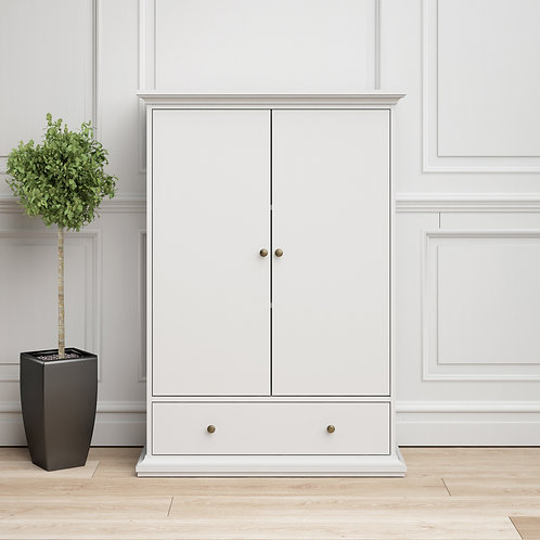 Paris Wardrobe With 2 Doors 1 Drawer 2 Shelves In White
