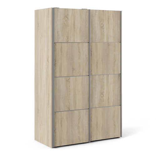 Verona Sliding Wardrobe 120CM In Oak With Oak Doors and 2 Shelves
