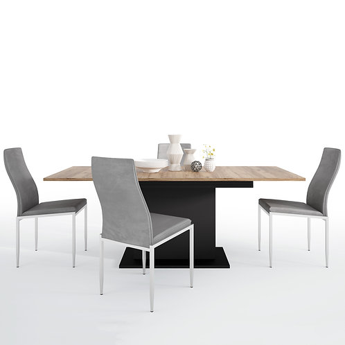 Brolo Extending Dining Table 4 Milan High Back Chair Grey
