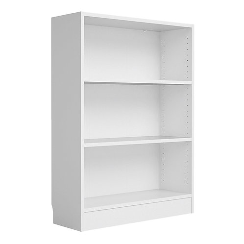 Basic Low Wide Bookcase 2 Shelves In White