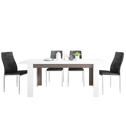Chelsea Living Extending Dining Table And 4 Milan High Back Chairs Black
