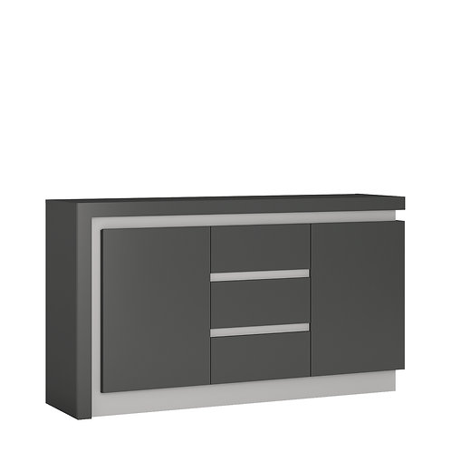 Lyon 2 Door 3 Drawer Sideboard In Platinum/Light Grey Gloss