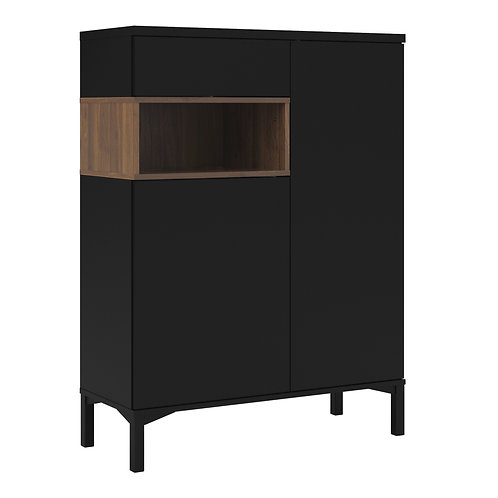 Roomers Sideboard 2 Door 1 Drawer In Black And Walnut