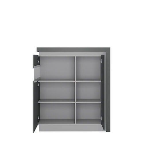 Lyon 2 Door Designer Left Handed Cabinet In Platinum/Light Grey Gloss