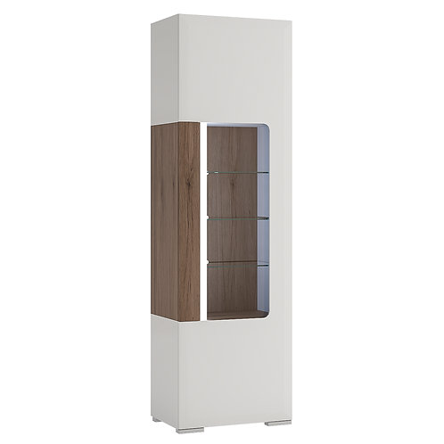 Toronto Tall Narrow Glazed Display Cabinet With Internal Shelves