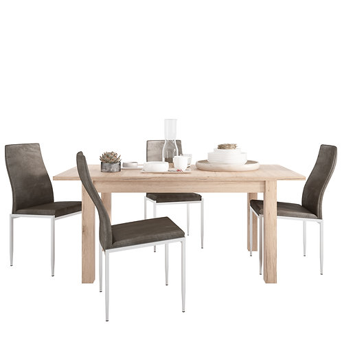 Kensington Extending Dining Table + 4 Milan High Back Chair