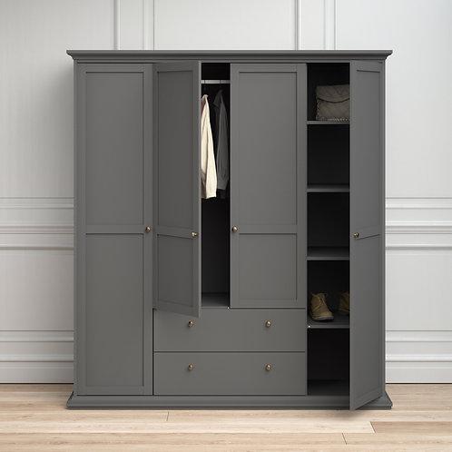 Paris Wardrobe With 4 Doors And 2 Drawers In Matt Grey