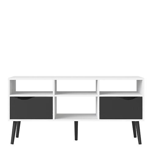 Oslo Tv Unit - Wide - 2 Drawers 4 Shelves In White And Black Matt