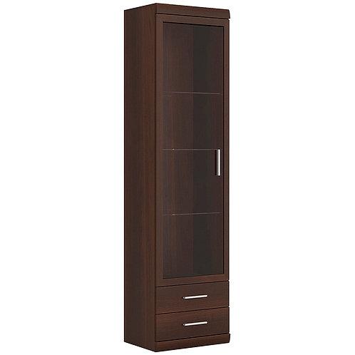 Imperial Tall Glazed 1 Door 2 Drawer Narrow Cabinet In Dark Mahogany Melamine