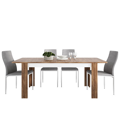 Toledo Extending Dining Table + 6 Milan High Back Chair Grey
