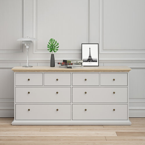 Paris Chest Of 8 Drawers In White And Oak