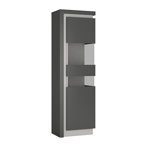 Lyon Tall Narrow Right Handed Display Cabinet In Platinum/Light Grey Gloss
