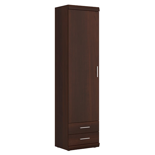Imperial Tall 1 Door 2 Drawer Narrow Cabinet In Dark Mahogany Melamine