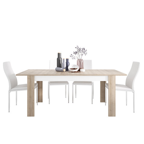 Lyon Large Extending Dining Table And 6 Milan High Back Chairs White