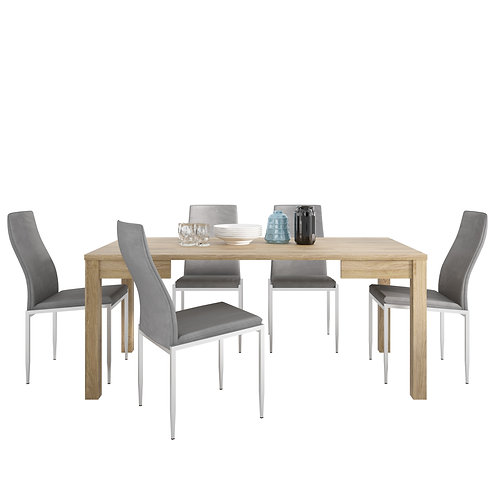 Shetland Extending Dining Table And 4 Milan High Back Chair Grey