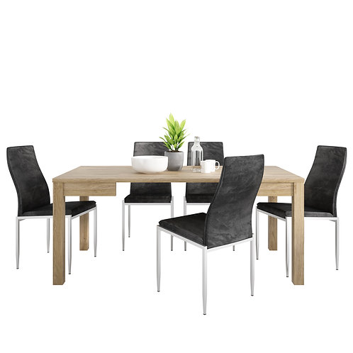 Shetland Extending Dining Table And 4 Milan High Back Chair Black