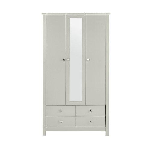 Florence 3 Door 4 Drawer Wardrobe With Mirror In Soft Grey