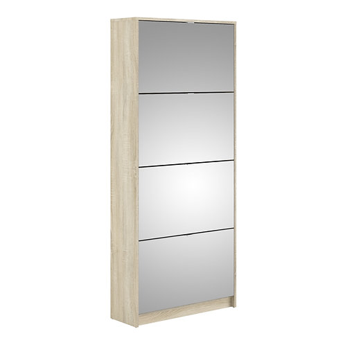 Shoe Cabinet With 4 Mirror Tilting Doors And 2 Layers