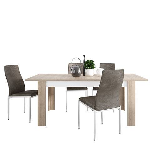 Lyon Large Extending Dining Table And 4 Milan High Back Chairs Dark Brown